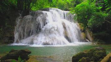 Erawan Waterfall In The Evergreen Forest