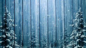 Fondo de invierno de madera y abetos.