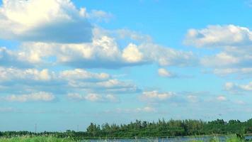 céu azul e nuvens brancas movendo-se lentamente