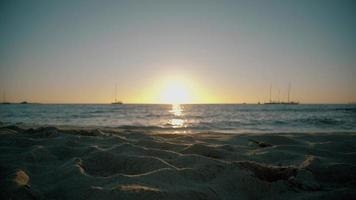 Sun going down on Formentera beach video