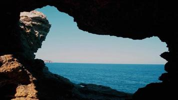 Cave Overlooking the Sea Horizon on A Summer Day video