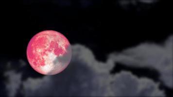 lua cheia rosa e animação de nuvem borrada video