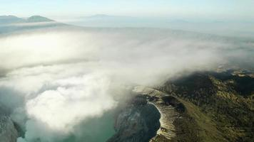 Aerial View on Forest and Ijen Crater, Indonesia