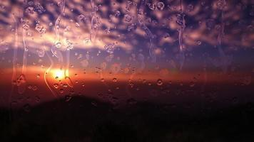Animated rain drops flow down the glass in the evening sunset. video