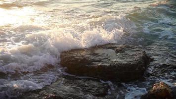 las olas del mar y las rocas video