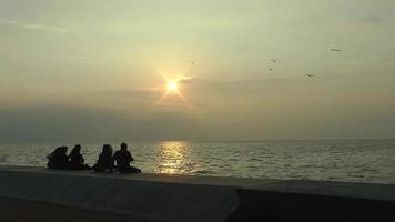 pessoas olhando para a paisagem marinha video