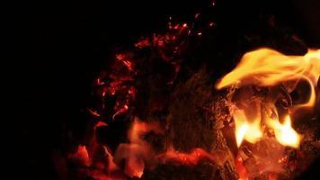 fuego de llamas de madera roja