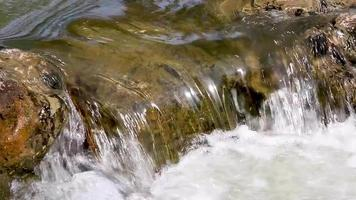 Water flowing over rocks into a natural pool