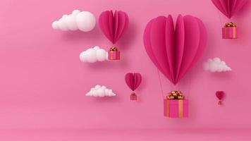 coração de balão com caixa de presente e nuvem. video