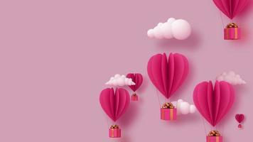 globos y caja de regalo flotan.