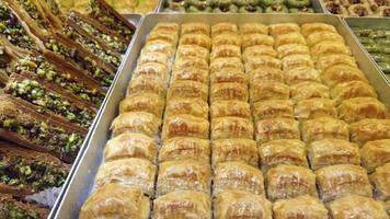 Sweet traditional Turkish pastries known as Baklava