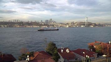 A tanker ship is passing from The Istanbul Bosphorus