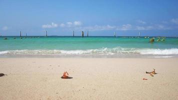 hermosa playa de verano y cielo brillante