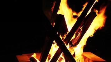 fuego de leña brillante video