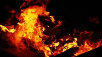 fuego de leña fuerte en la oscuridad video