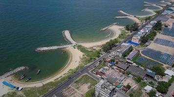 Aerial shot on Stone Wave Breaker. video