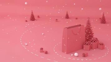 bolsas de compras, árbol de navidad y caja de regalo.