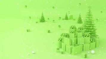 pilha de caixas de presente, sacolas de compras colocadas acima da árvore de Natal. video