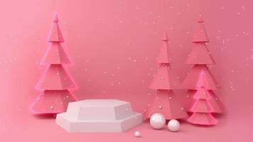 visor branco vazio e pinheiros com neve. video
