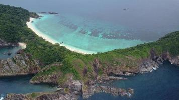 Aerial view of beautiful white sand beach Island.