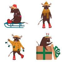 conjunto de toros de navidad vector
