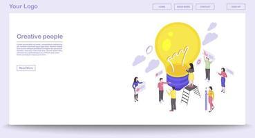 Teamwork webpage template vector