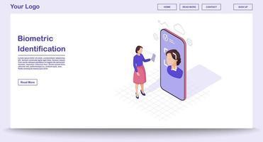 Biometric identification webpage vector