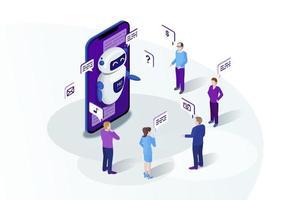 marketing isométrico chatbot vector