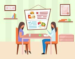 Woman visiting nutritionist vector