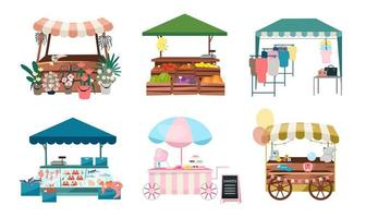 Market stalls set vector