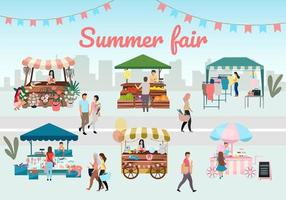 Summer fair vendors vector