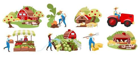 Farmers market set vector