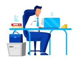 Office worker on laptop vector