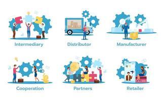 Business model set vector