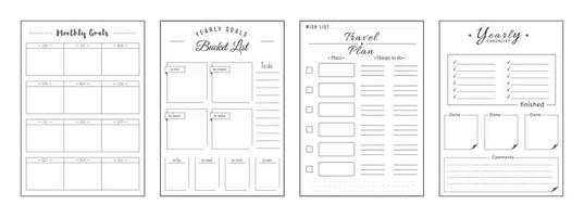 Priorities and wishes minimalist planner page set vector
