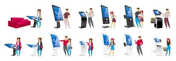 People using self order kiosks