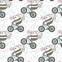 Panda kawaii perfecta montando bicicleta con patrón de gato