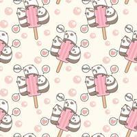 pandas kawaii sin costuras con patrón de barra de helado