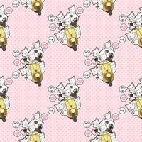 Seamless kawaii panda riding motorcycle with friends pattern vector