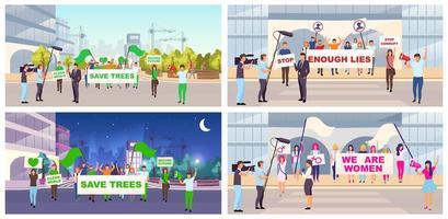 conjunto de protestas sociales vector
