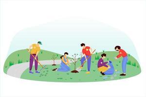 dia de trabajo comunitario vector