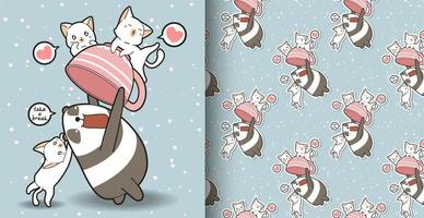 Seamless kawaii panda holding cup with cats pattern vector