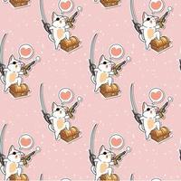 seamless, kawaii, pirata, gato, caricatura, carácter, patrón vector