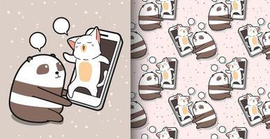 panda kawaii hablando con gato a través de un patrón de teléfono inteligente
