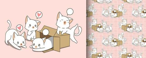 Seamless little white cats in box and friends pattern vector