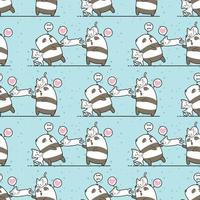 Kawaii panda and cat characters friendship pattern vector