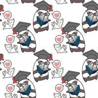 patrón del día mundial del maestro kawaii panda y gato sin costura