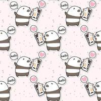 Seamless kawaii panda talking with cat on video pattern