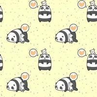 Seamless lovely panda and cat pattern vector