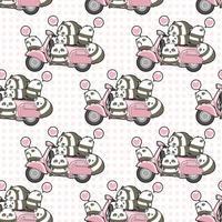 Seamless kawaii pandas and pink motorcycle pattern vector